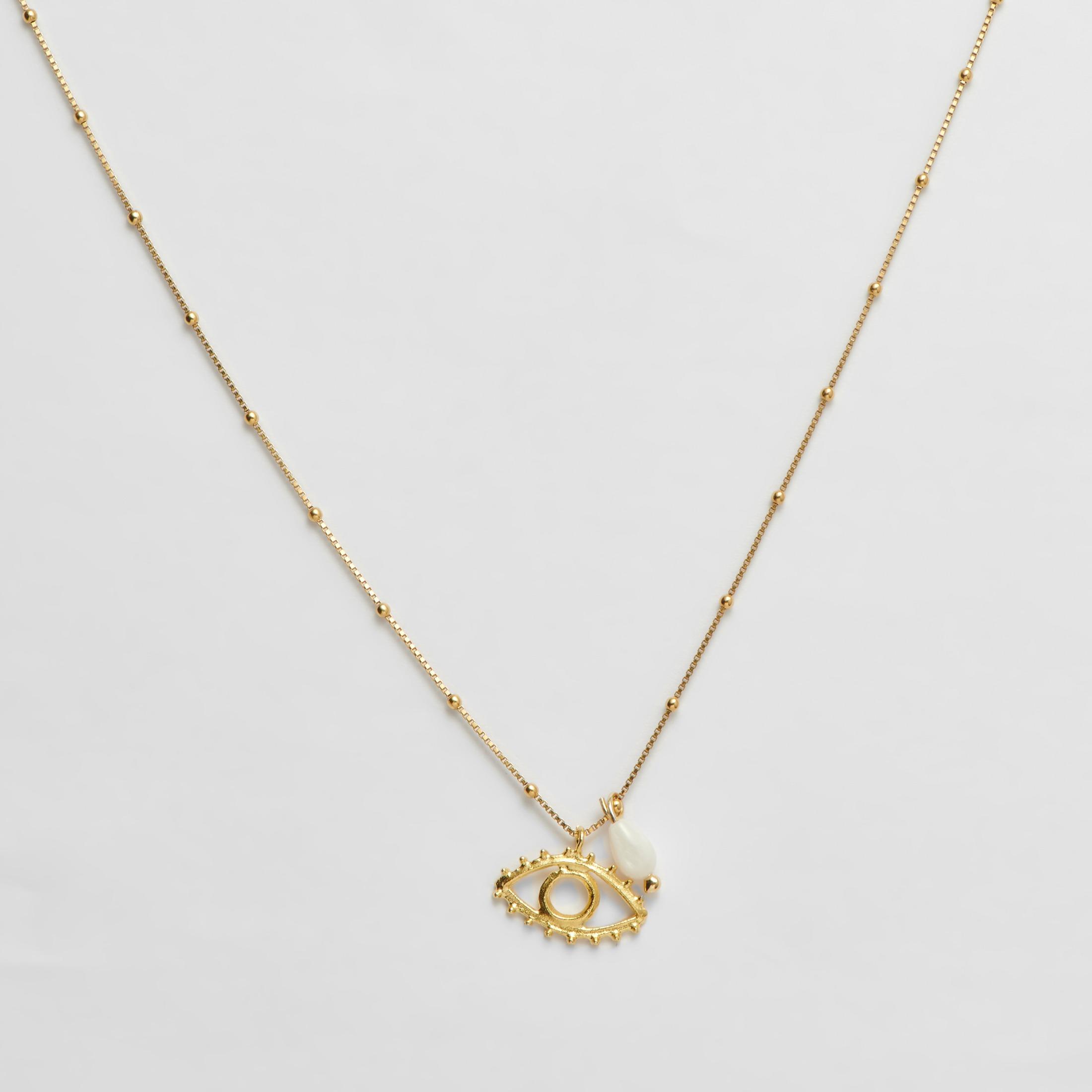 200-57-PL Evil eye necklace κολιέ χρυσό